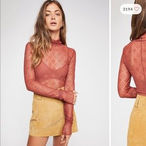 FP Rust All Over Lace Turtleneck Long Sleeve